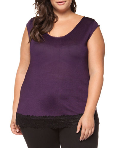 Dex Plus Lace Trim Shimmer Tee-PURPLE-2X