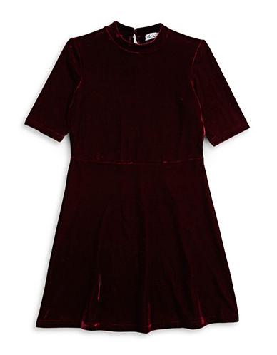 Dex Velvet Mock Neck Dress-BLACK-Small