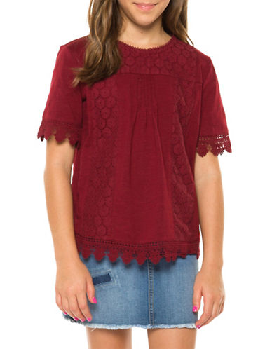 Dex Crochet Crew Neck Top-RED-Medium