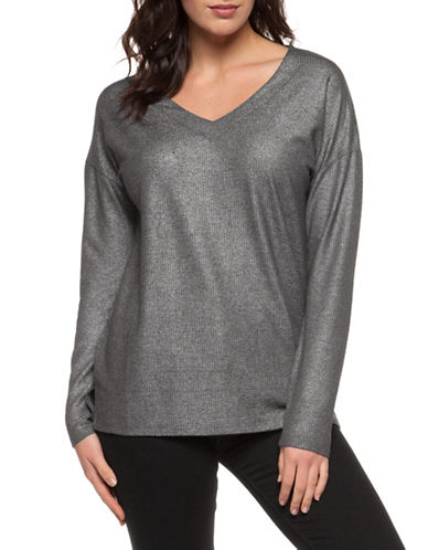 Dex Metallic Knit V-Neck Top-PEWTER-Medium