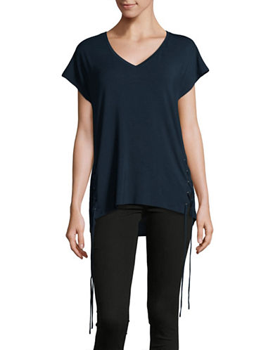 Dex Lace-Up Side Tee-BLUE-Small