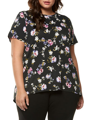 Dex Plus Floral Printed Tee-ROSE/BLACK-3X