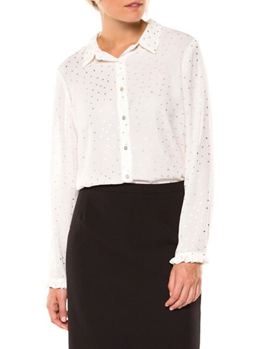 Dex Long Sleeve Blouse-WHITE-X-Large