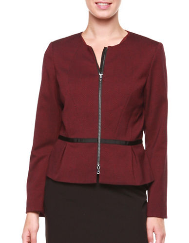 Dex Polka Dot Collarless Blazer-RED-Small