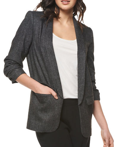 Dex Herringbone Open Blazer-BLACK-Large