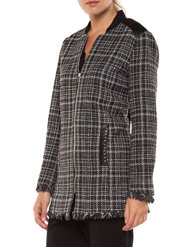 Dex Zip-Front Boucle Jacket-BLACK MULTI-Medium