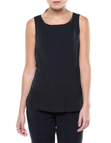 Dex Sleeveless Pinstriped Woven Top-BLUE-Medium