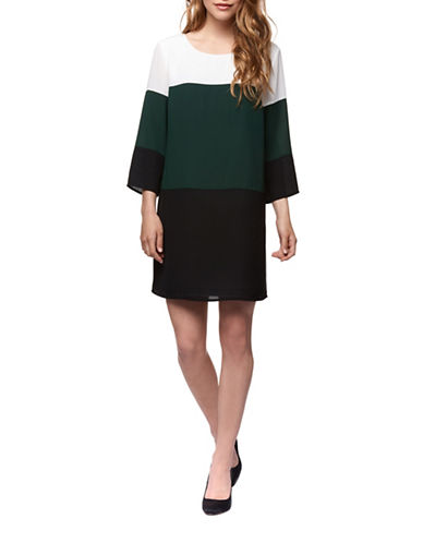 Dex Long-Sleeve Colorblock Mini Dress-MULTI-X-Large