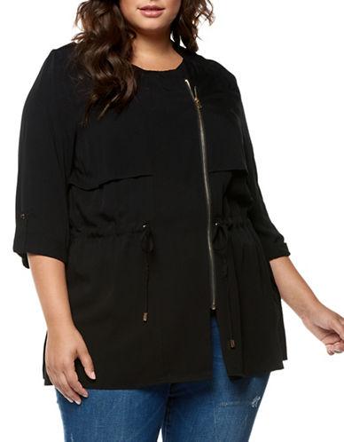 Dex Plus Drapey Zip Front Jacket-BLACK-1X