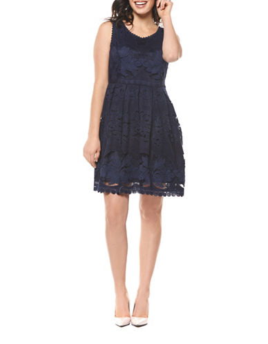 Dex Floral Lace Fit-And-Flare Dress-INDIGO-Small