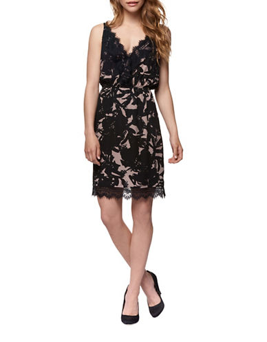 Dex Leaf-Print Lace Trim Blouson Dress-BLACK/PINK-X-Small