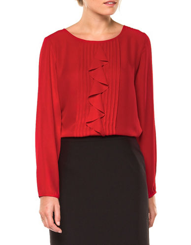 Dex Ruffled Pintuck Blouse-RED-X-Large