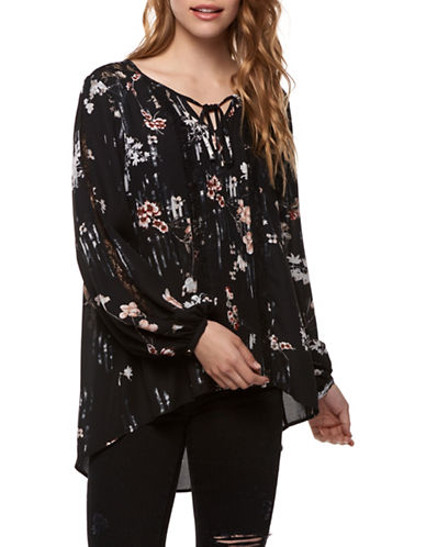 Dex Linear Floral Blouse-ROSE FLORAL-X-Small