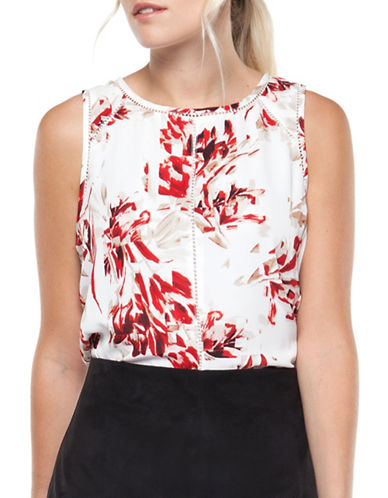 Dex Floral-Print Crochet-Trim Blouse-FLORAL-X-Small