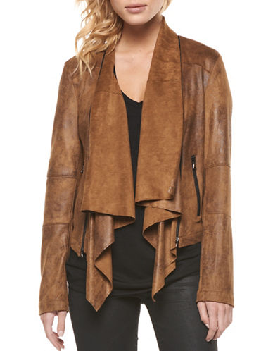 Dex Coated Suede Jacket-BROWN-Small