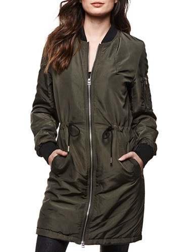 Dex Long Bomber Jacket-GREEN-Small