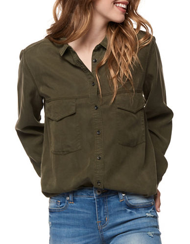 Dex Basic Button-Down Shirt-GREEN-X-Small