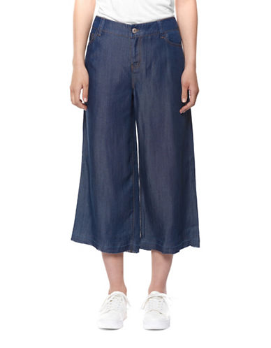 Dex Five-Pocket Cropped Pants-BLUE-Large