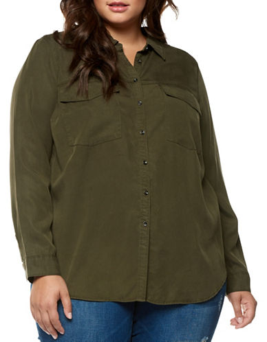 Dex Plus Two-Pocket Button-Down Shirt-KHAKI-1X