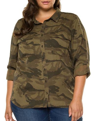 Dex Plus Camouflage Button-Down Shirt-CAMO PRINT-3X
