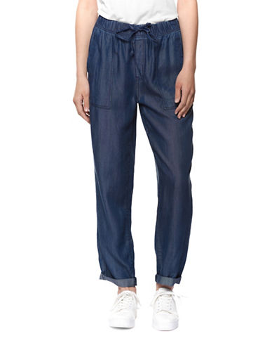 Dex Woven Drawstring Pants-BLUE-Large