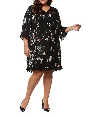 Dex Plus Printed Dress-ROSE FLORAL-1X