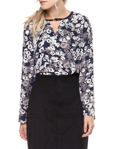 Dex Long-Sleeve Printed Blouse-INDIGO/GREY-X-Small