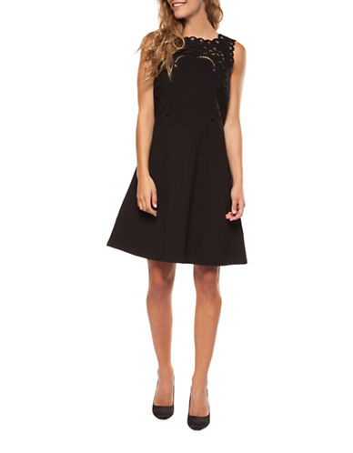 Dex Eyelet Fit-and-Flare Dress-BLACK-Medium