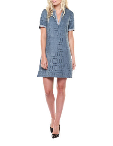 Dex Laser-Cut Shift Dress-BLUE-Small