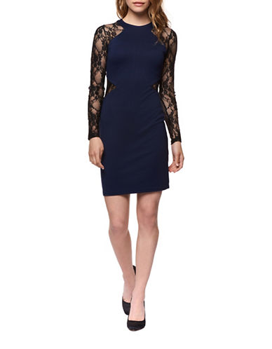 Dex Lace-Sleeve Sheath Dress-NAVY/BLACK-Large