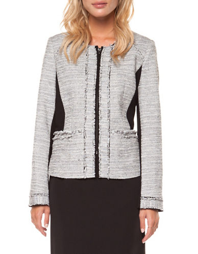 Dex Long Sleeve Boucle Jacket-GREY-X-Small