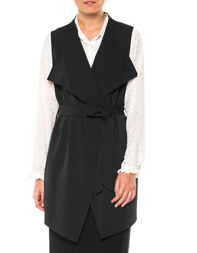 Dex Belted Drape Vest-BLACK-Large