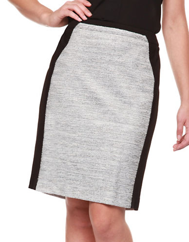 Dex Contrast Trim Boucle Skirt-SALT/PEPPER-Large
