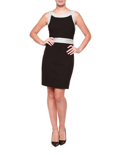 Dex Boucle Trim Sleeveless Sheath Dress-BLACK COMBO-Small