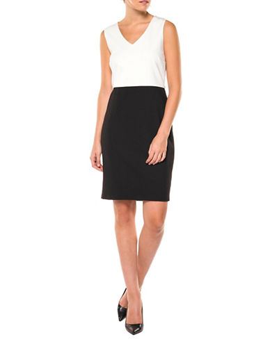 Dex Colourblock Sheath Dress-BLACK/IVORY-X-Small