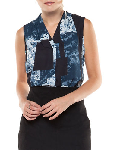 Dex Sleeveless Printed Blouse-BLUE MULTI-Small