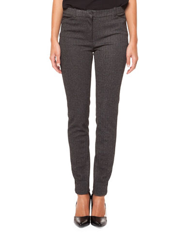 Dex Herringbone Textured Skinny Pants-BLACK/GREY-Medium