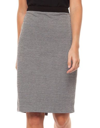 Dex Mini Houndstooth Pencil Skirt-BLACK MULTI-X-Small