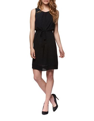 Dex Self-Tie Diamond-Print Flare Dress-BLACK-X-Large
