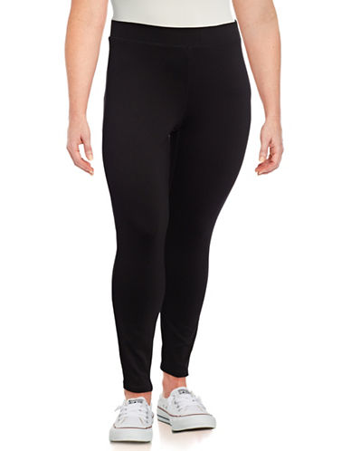 Dex Plus Stretch Solid Leggings-BLACK-2X