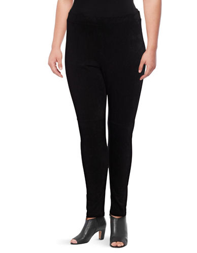 Dex Plus Faux Suede Combo Leggings-BLACK-1X
