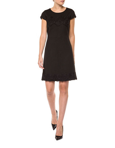 Dex Crochet Insert Shift Dress-BLACK-X-Small