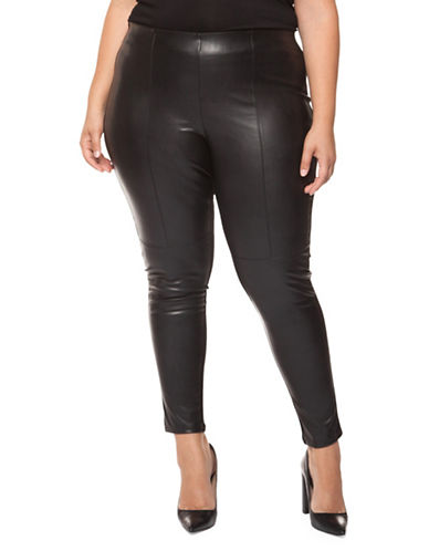 Dex Plus Pleather Cotton Pants-BLACK-2X