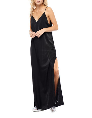 Dex Strappy Satin Maxi Dress-BLACK-Small