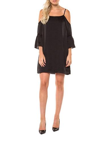 Dex Cold-Shoulder Shift Dress-BLACK-Medium