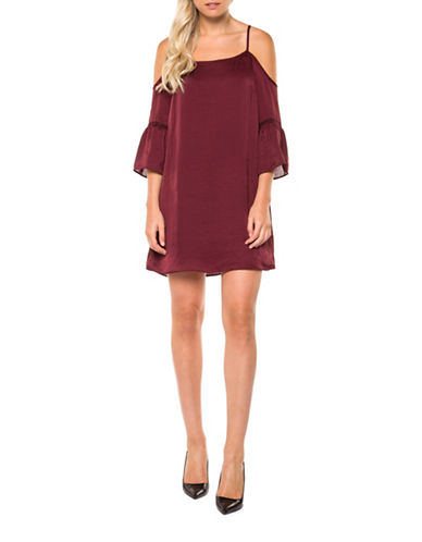 Dex Cold-Shoulder Shift Dress-RED-X-Small