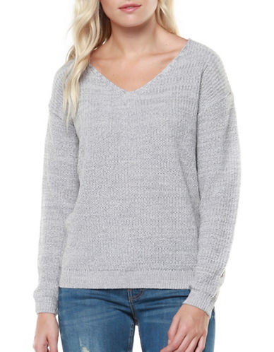 Dex Lace-Up Back Sweater-LIGHT GREY-Medium