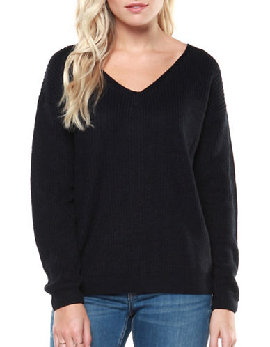 Dex Lace-Up Back Sweater-INK HEATHER-Small