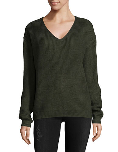 Dex Lace-Up Back Sweater-GREEN-Medium