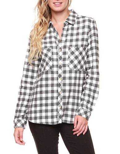 Dex Flannel Plaid Top-GREY/WHITE-X-Small